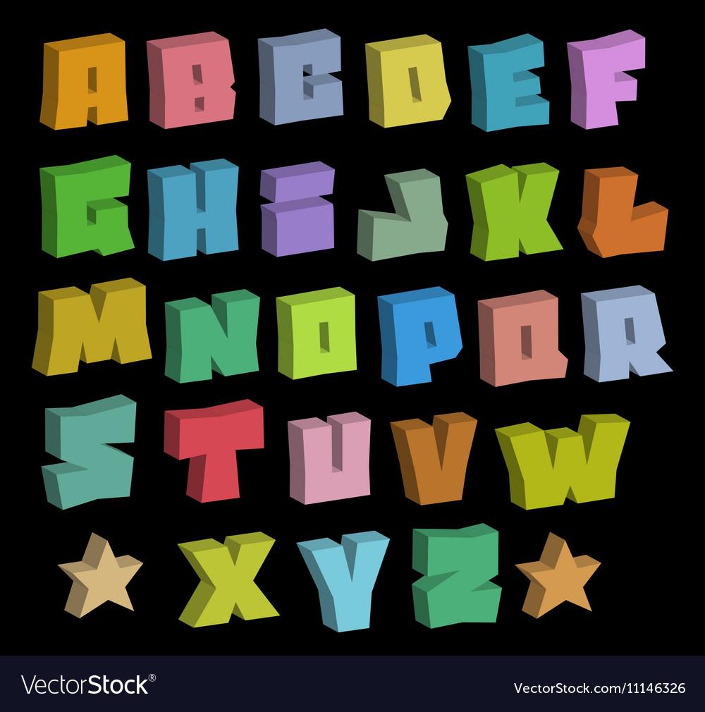 3D Graffiti Blocky Color Fonts Alphabet Over Black Vector Image