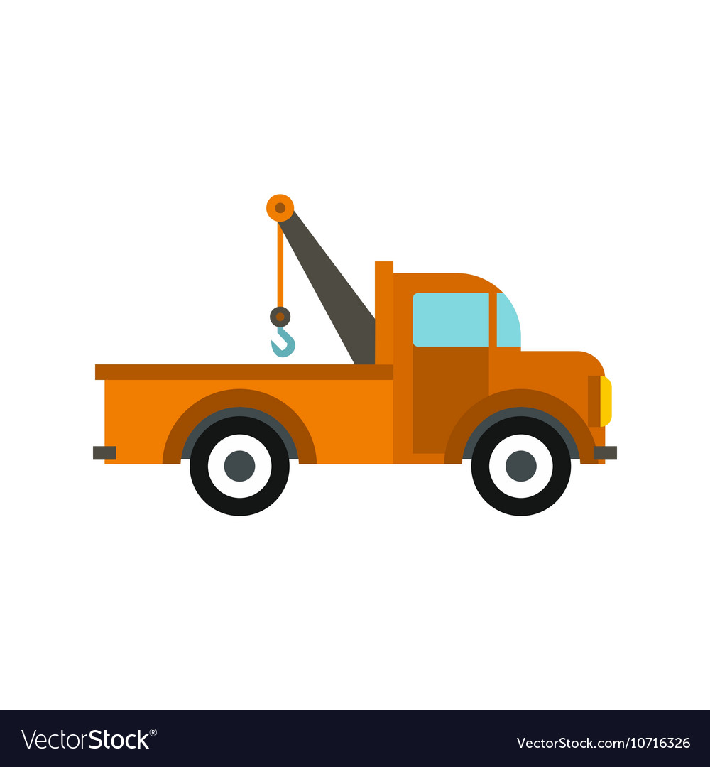 Car tow truck icon flat style
