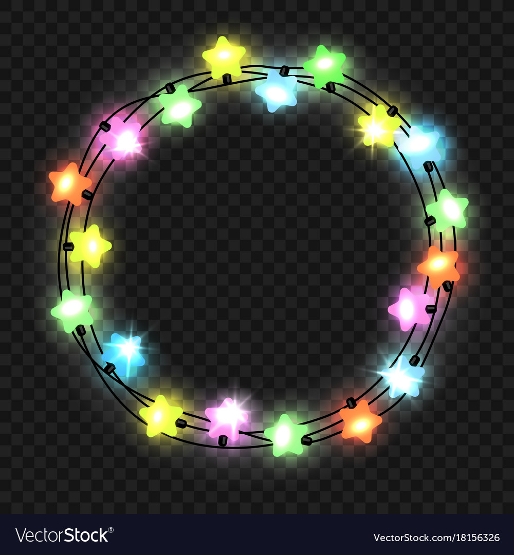 Christmas star light garland on transparent vector image