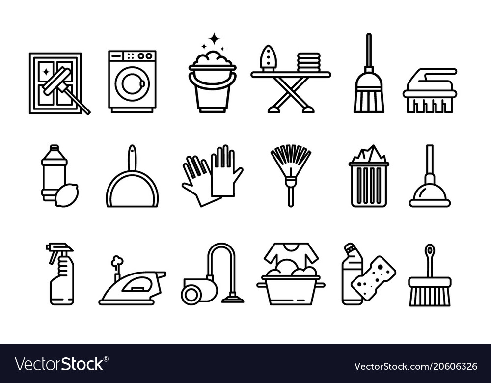 Cleaning icons set washing machine ironing