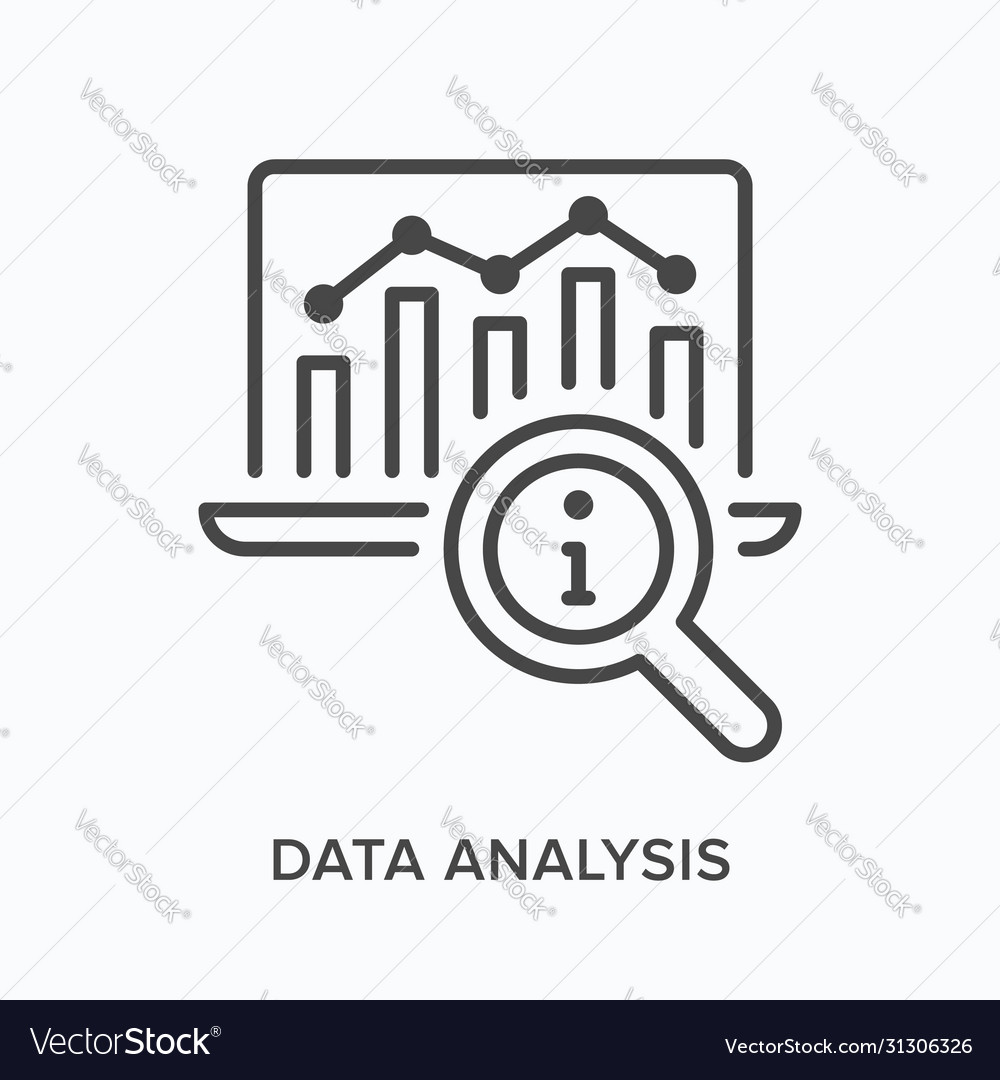 Data analysis flat line icon outline