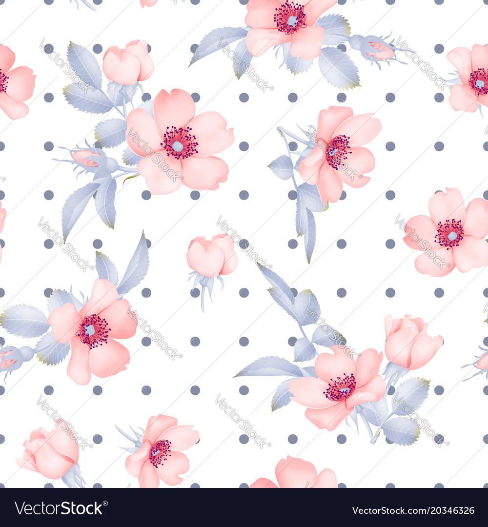 Dog-rose blooms wild rose seamless pattern