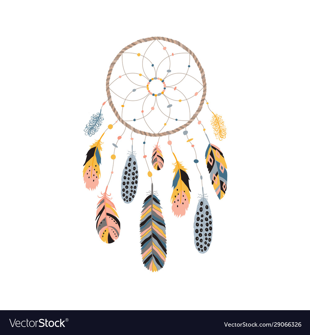 Dream catcher with feathers jewels and colorful