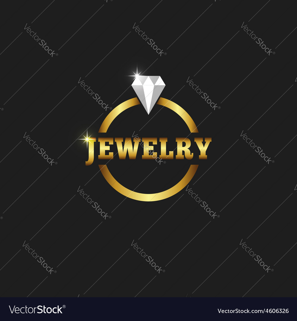 Gold ring with diamond jewelry logo on the black vector image