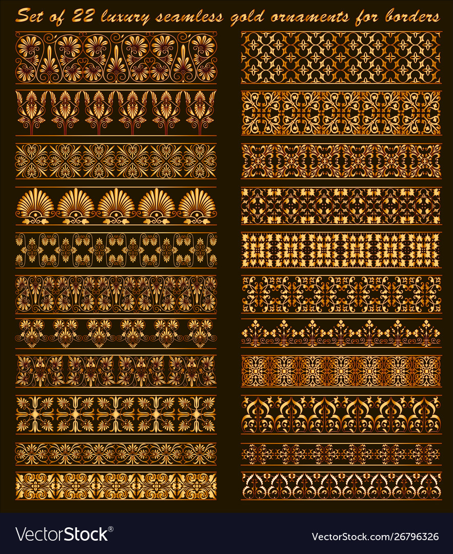 Set 22 luxury seamless gold ornaments for