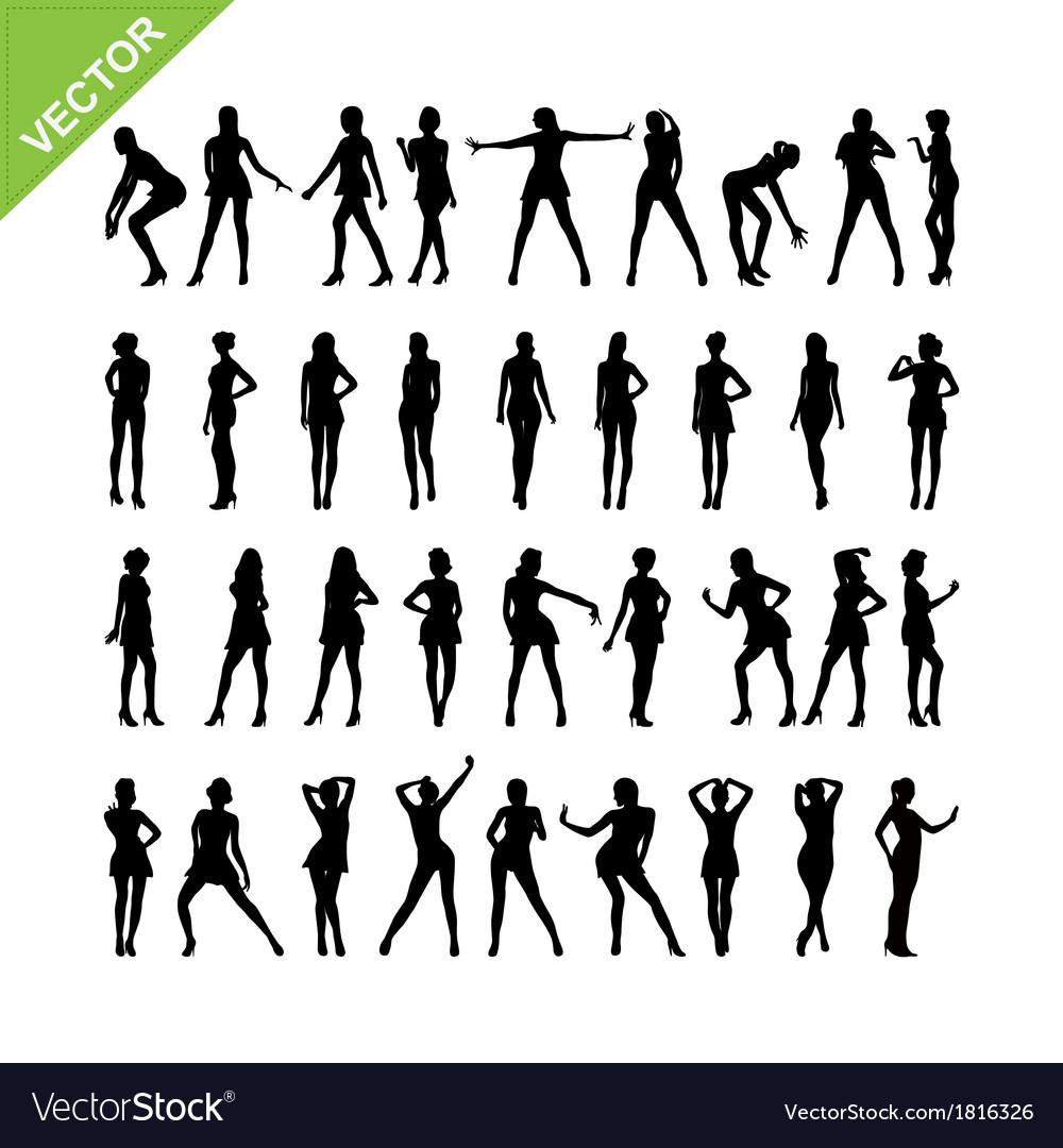 Sexy women silhouettes set 16