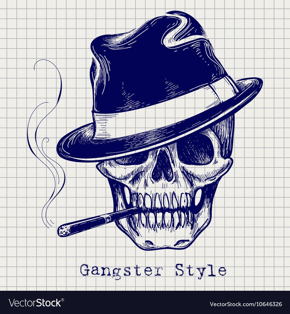 Sketch of gangster skull