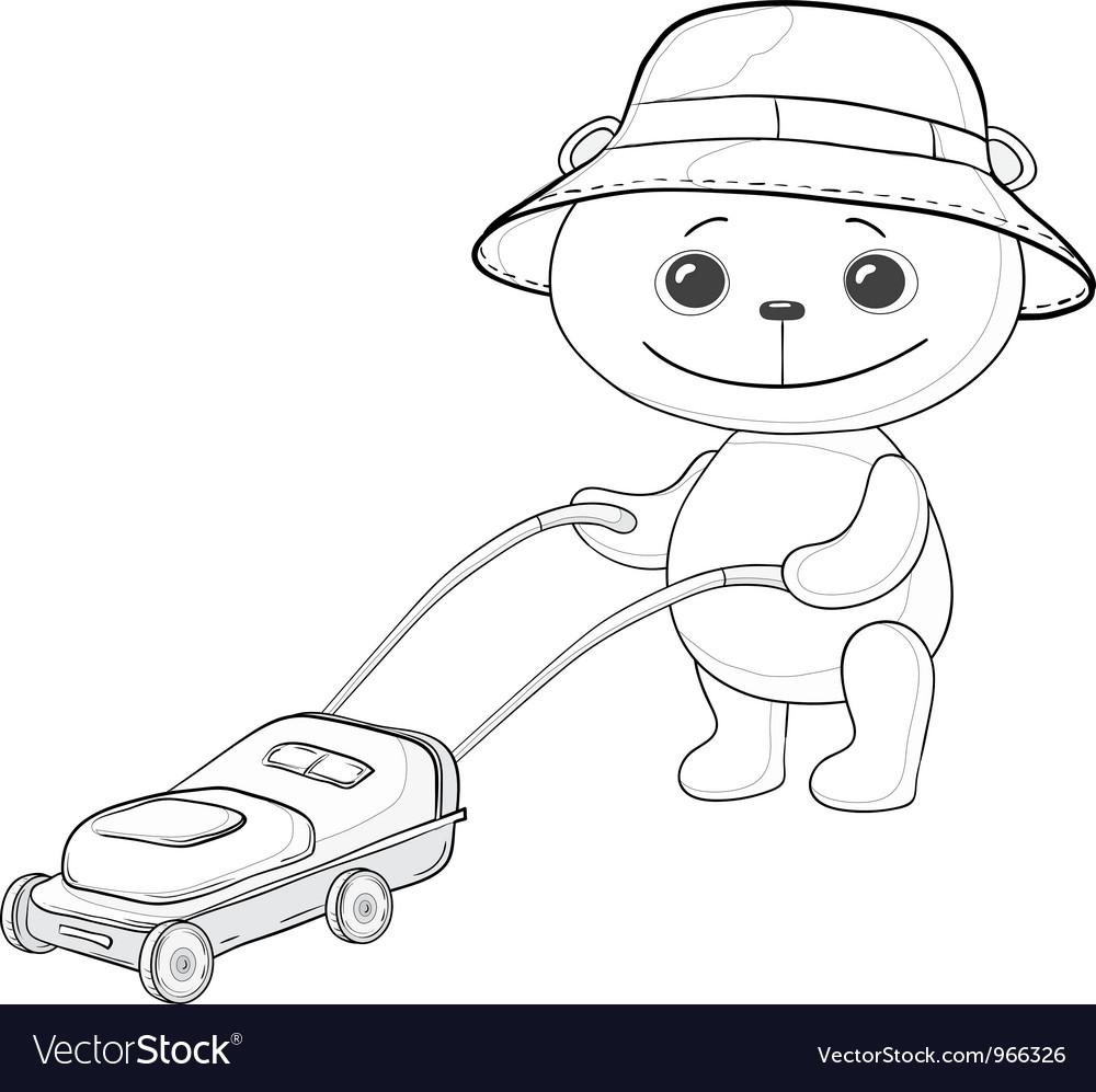 Teddy bear lawnmower contours