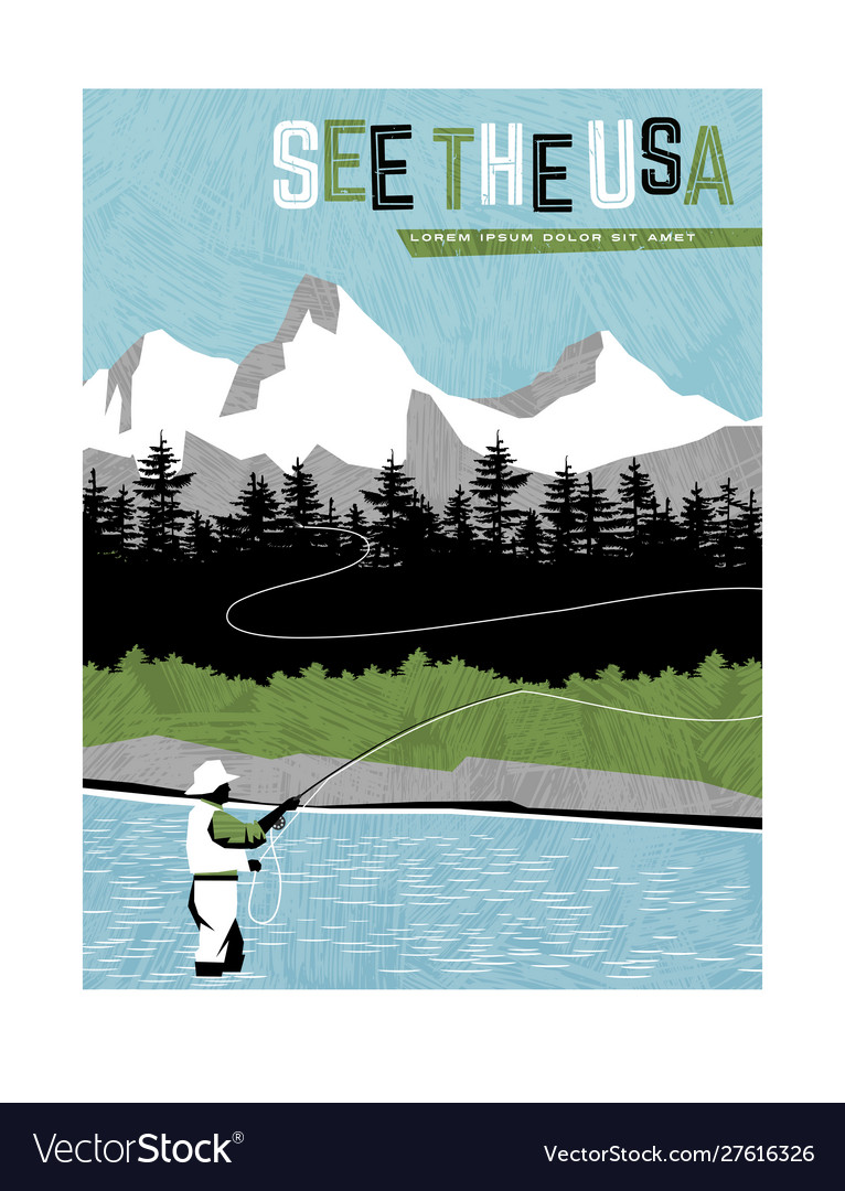Travel poster fly fishing in united states