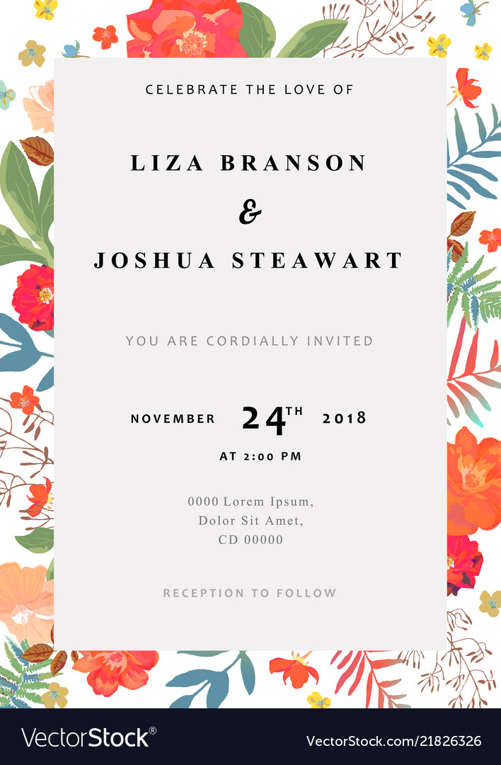 Wedding Floral Background Colorful Invitation