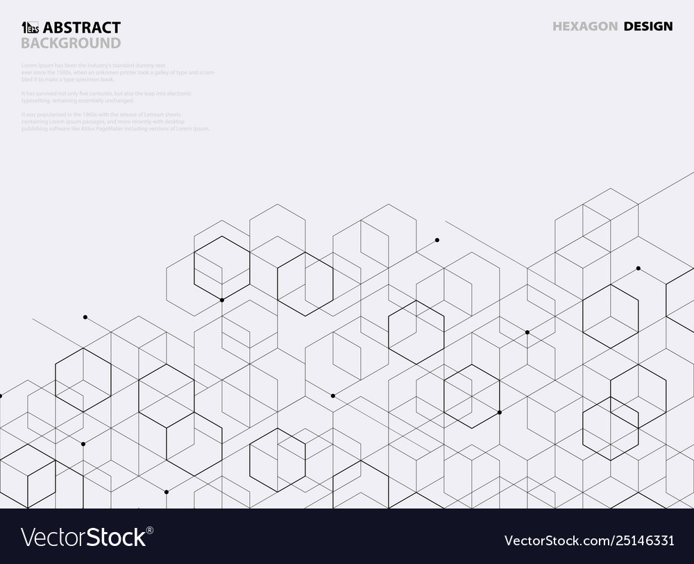 Abstract black hexagon pattern design on white