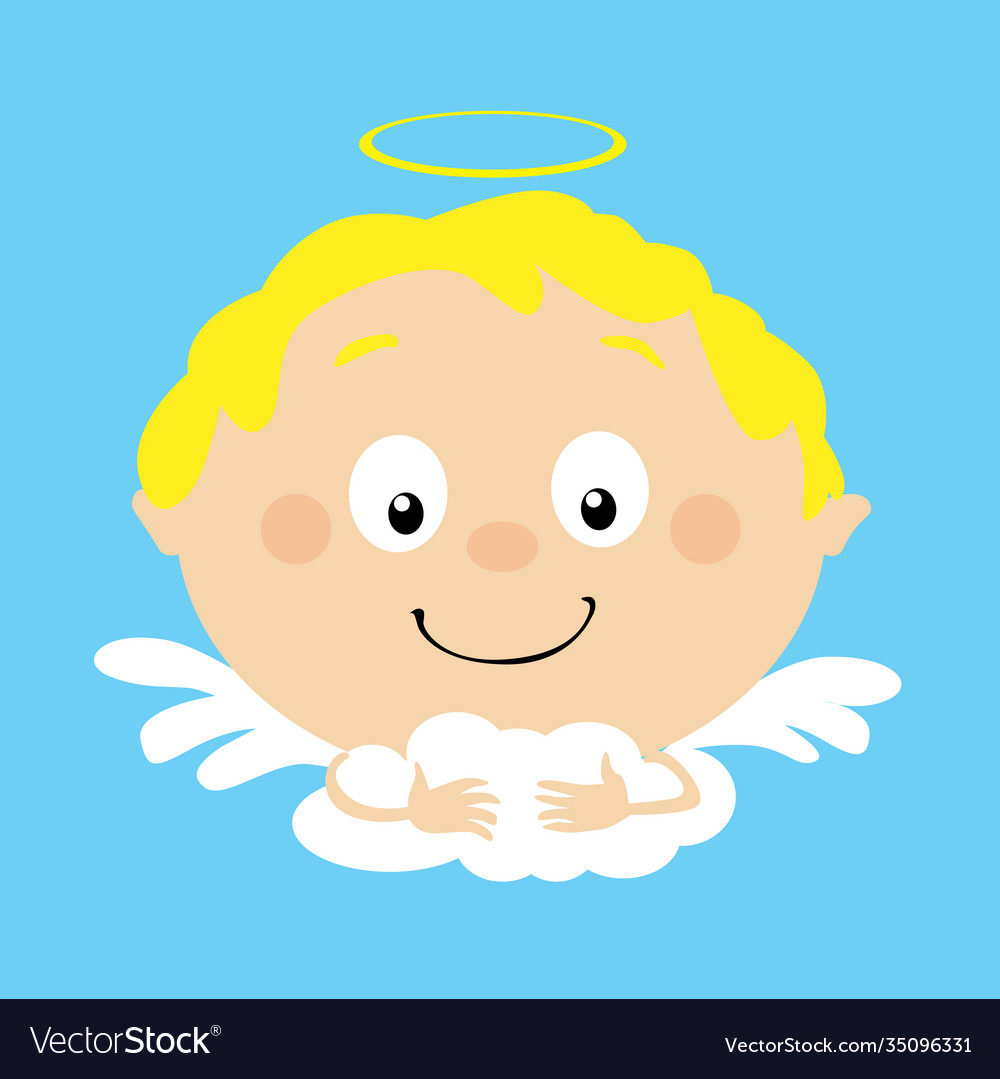 Angel in heaven icon face simple flat design
