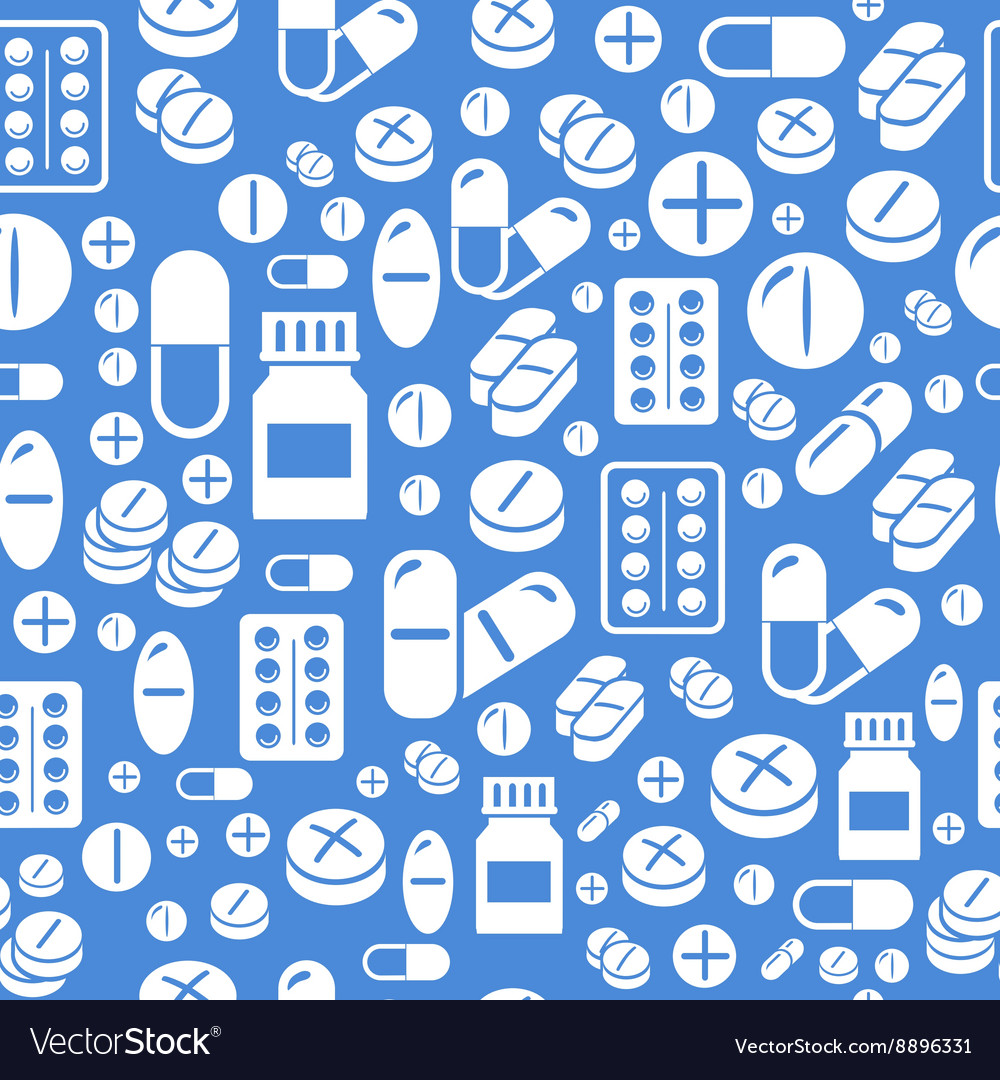 Background made from pills and capsules seamless