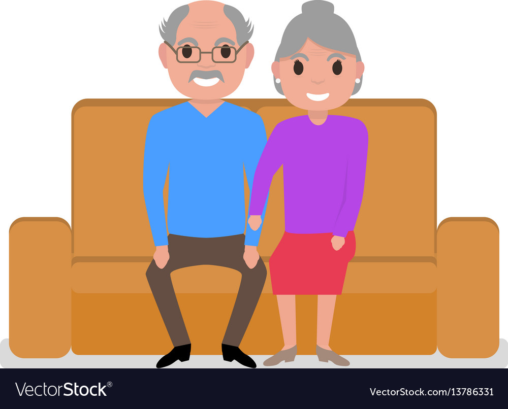 Cartoon grandparents sitting on the couch