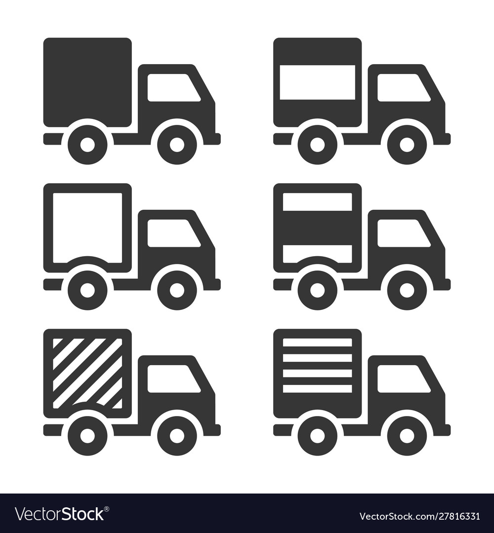 Delivery truck icon set cargo sign on white