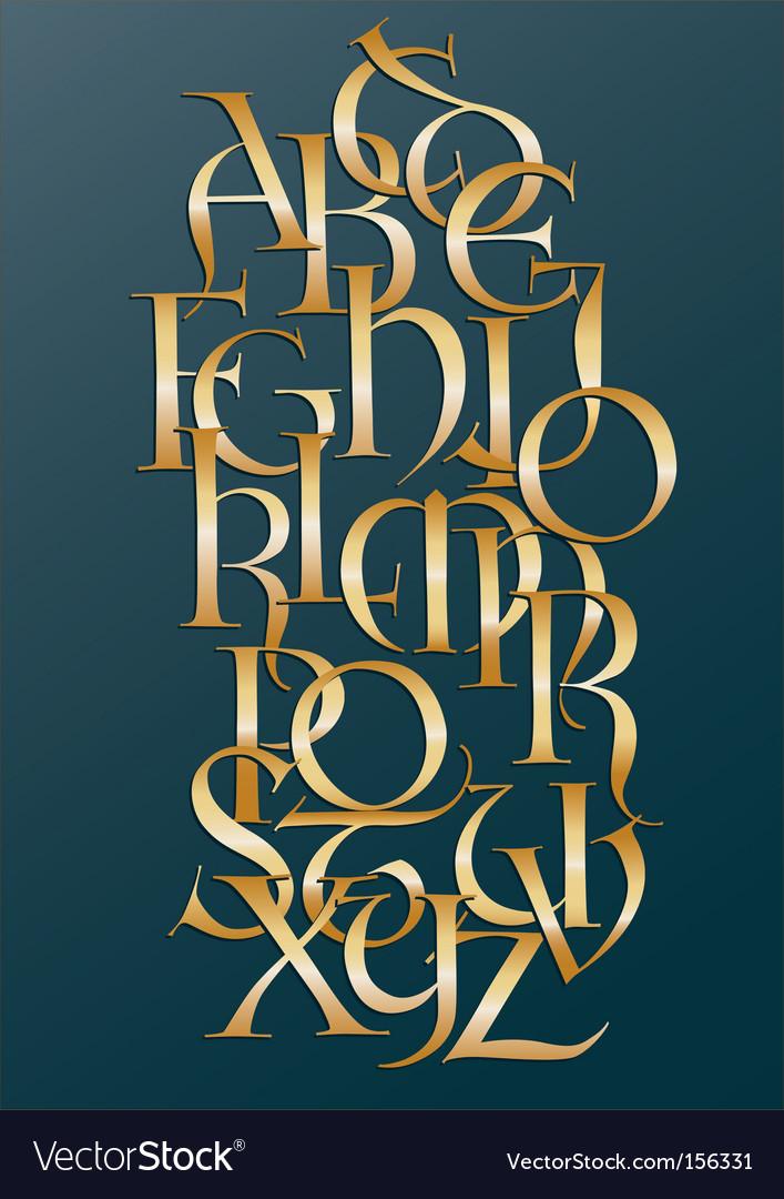 Golden Lombard alphabet
