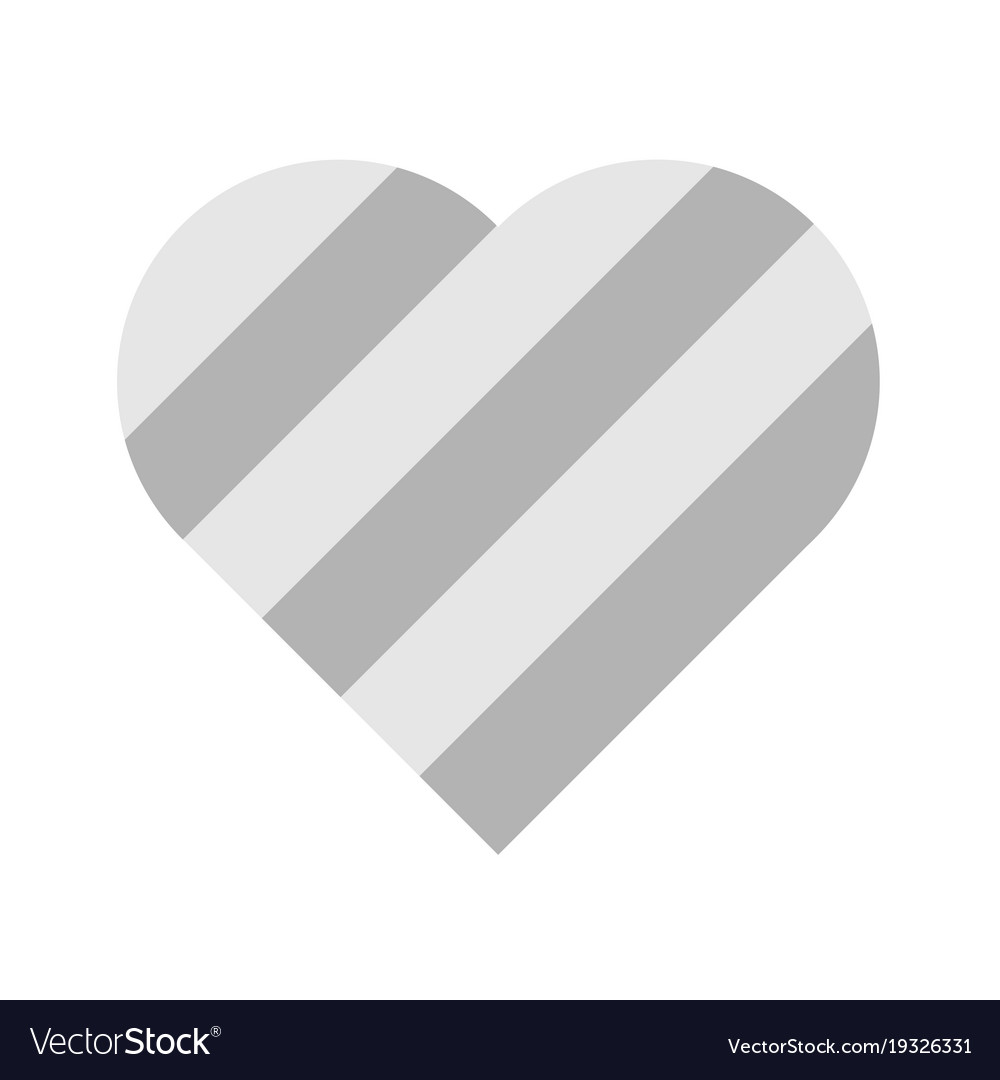 Heart Of Grey Stripes 3d Effect Symbol Of Love Vector Image