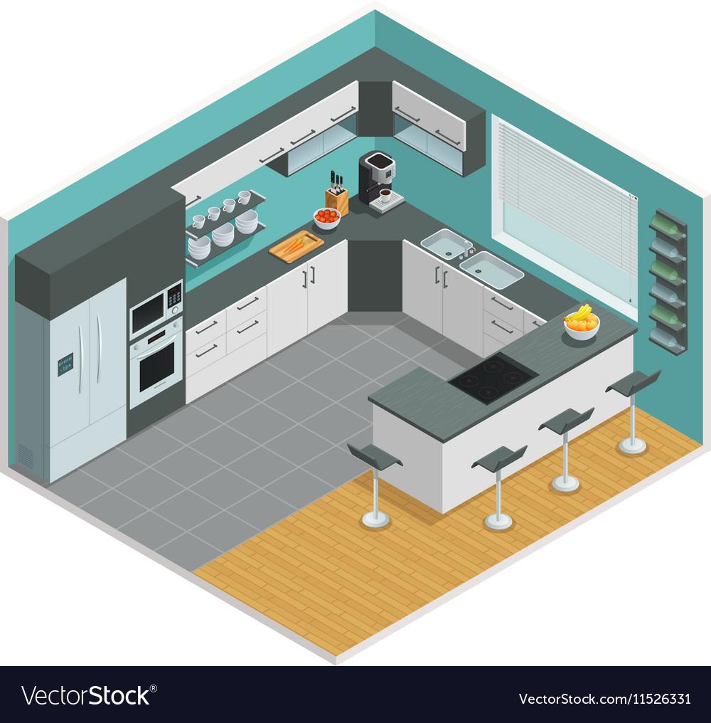 Kitchen Interior Isometric Design Royalty Free Vector Image
