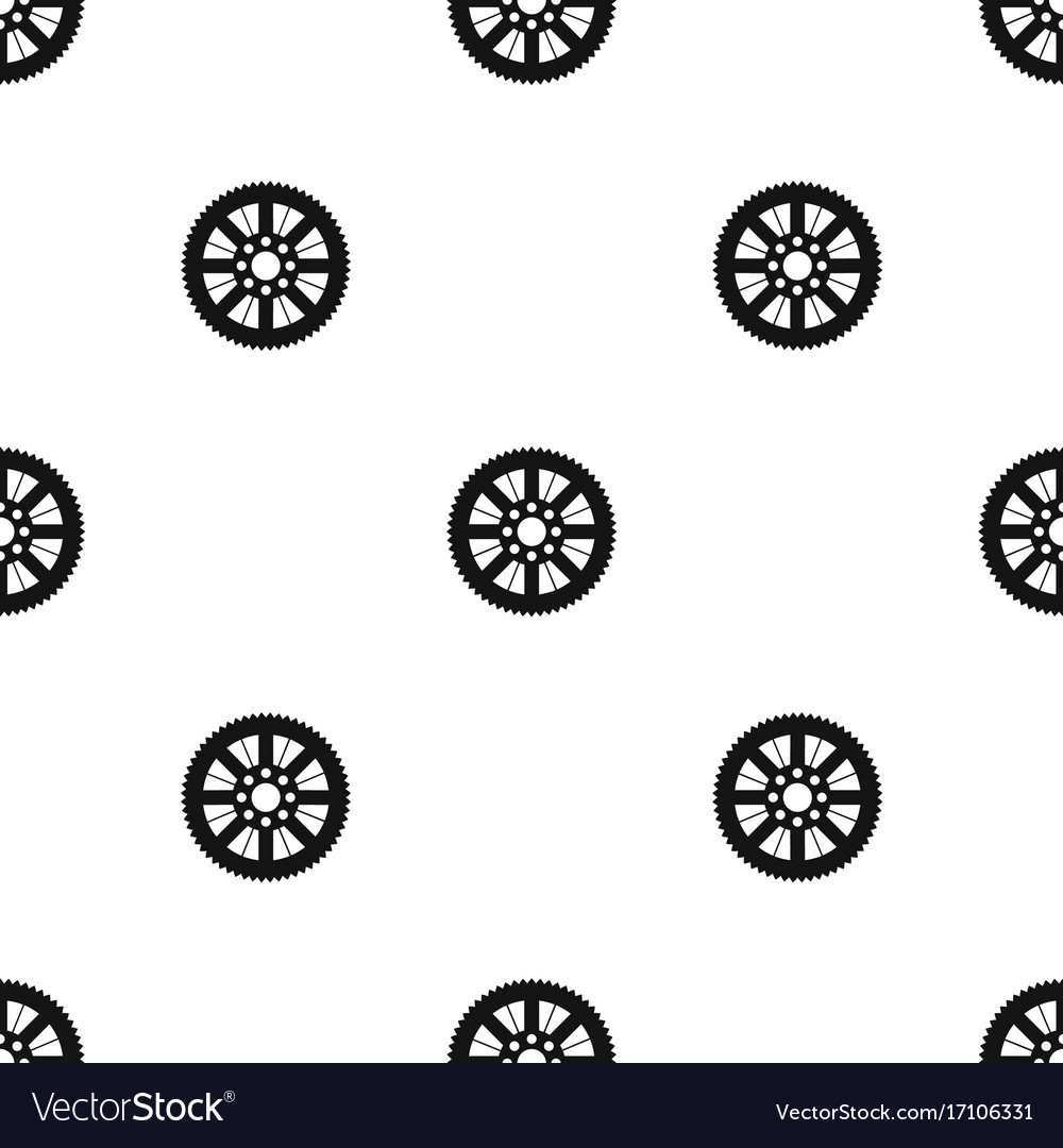 Sprocket from bike pattern seamless black vector image