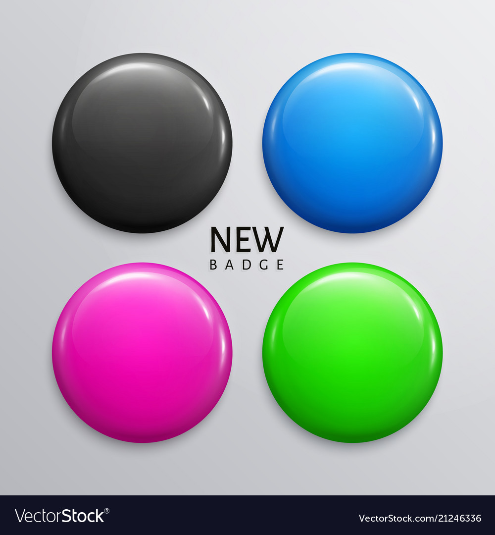 Blank glossy badges or web buttons in four colors