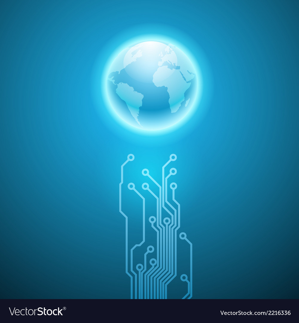 Circuit board texture and the earth Royalty Free Vector