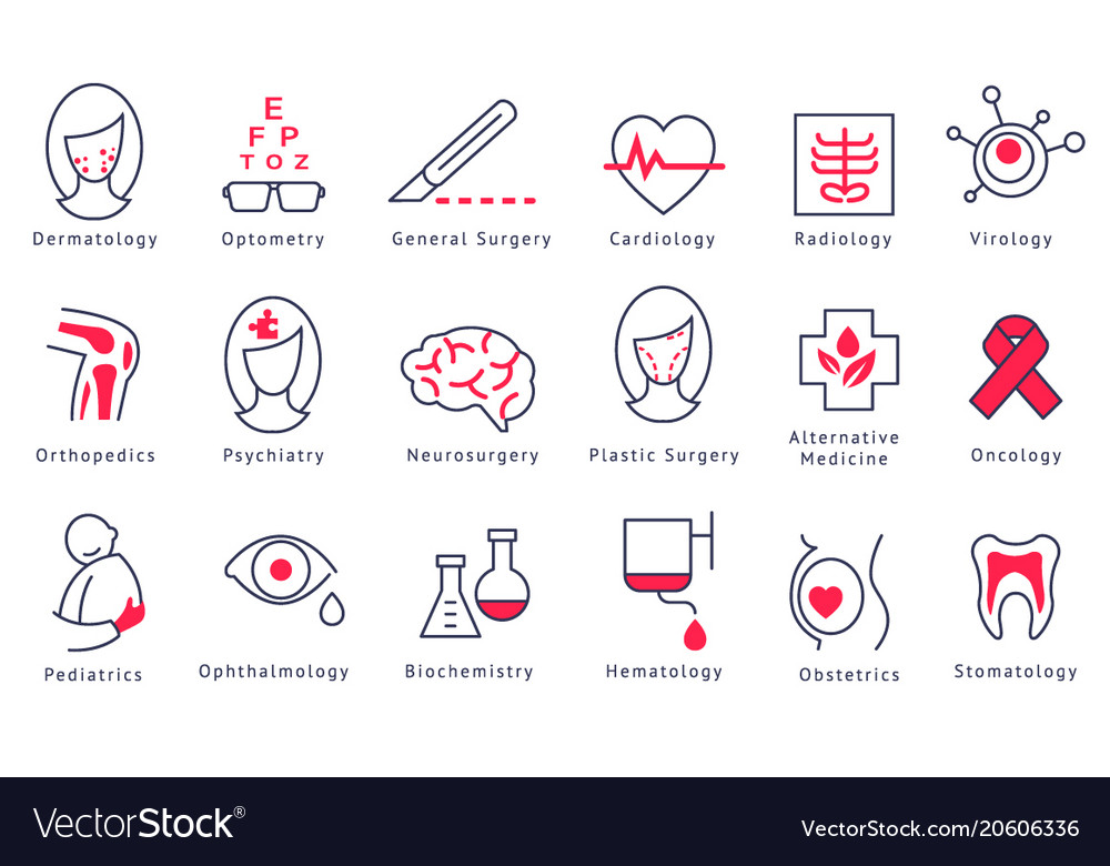 Different hospital department icons set