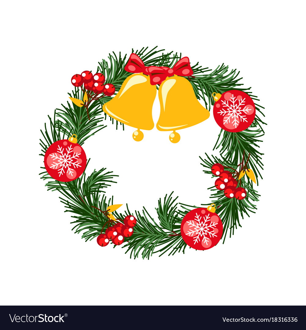 door christmas decor pine tree wreath with bells vector image - Christmas Tree Bell Decoration