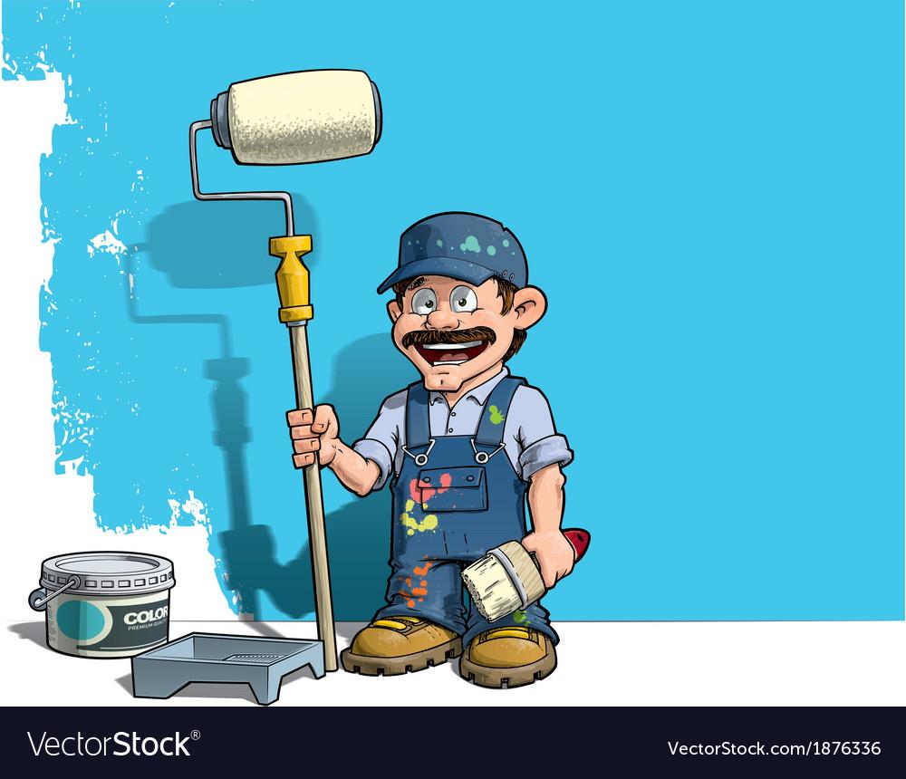 Handyman Wall Painter Blue Uniform vector image