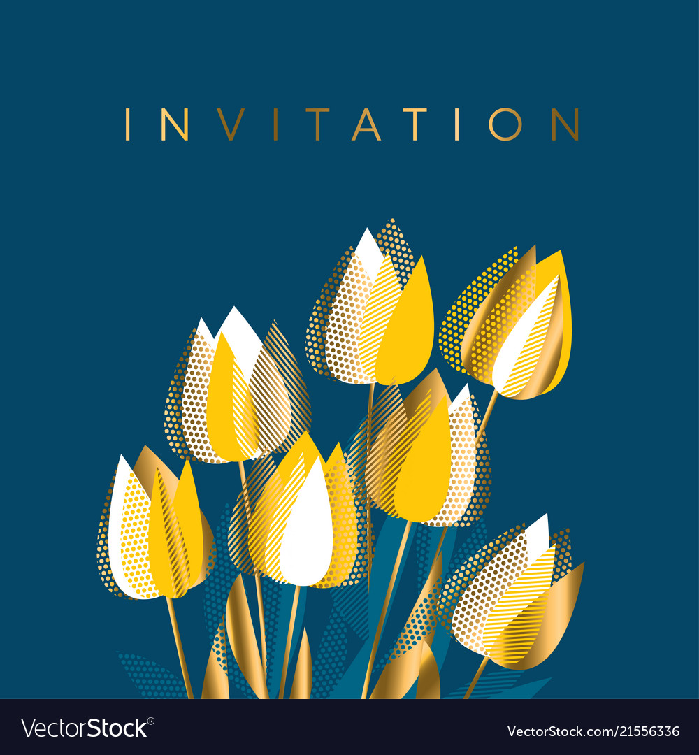 Modern Graphic Yellow Tulip Flowers Royalty Free Vector