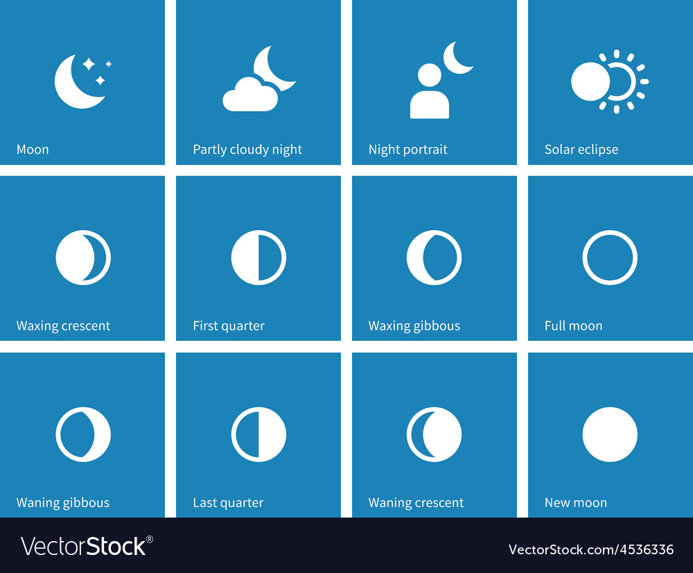 Moon lunar cycle icons on blue background