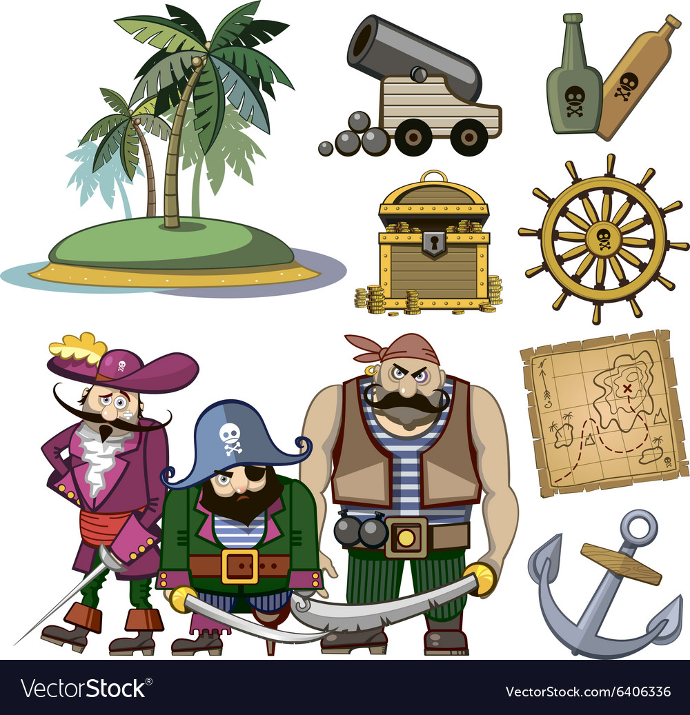 Pirate characters set in cartoon style
