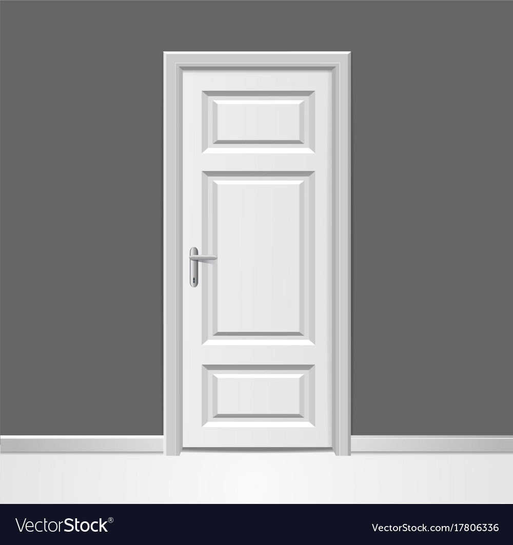 Realistic 3d closed white wooden door with frame Vector Image