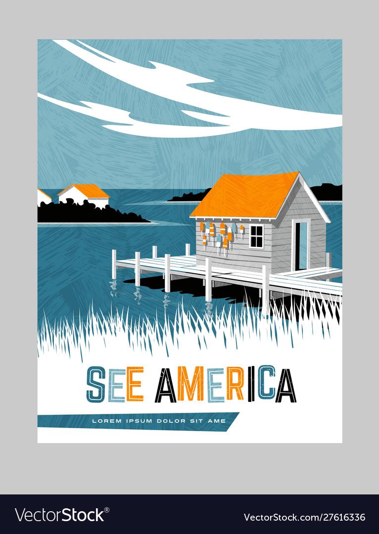 Travel poster boathouse east coast united states