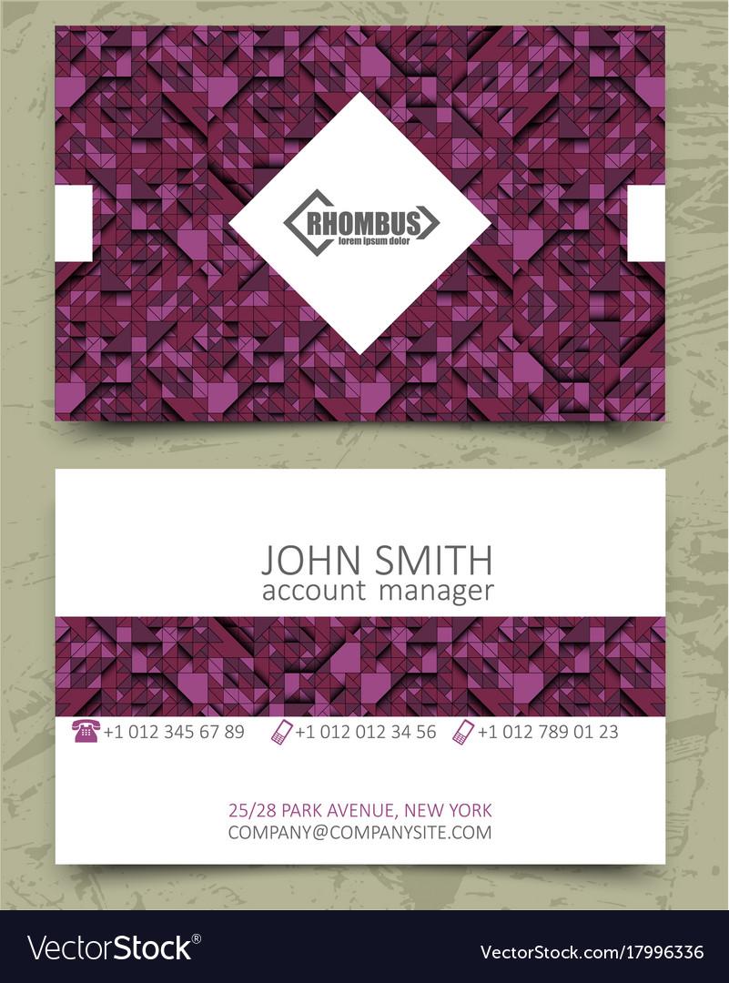 Violet triangles modern business card design