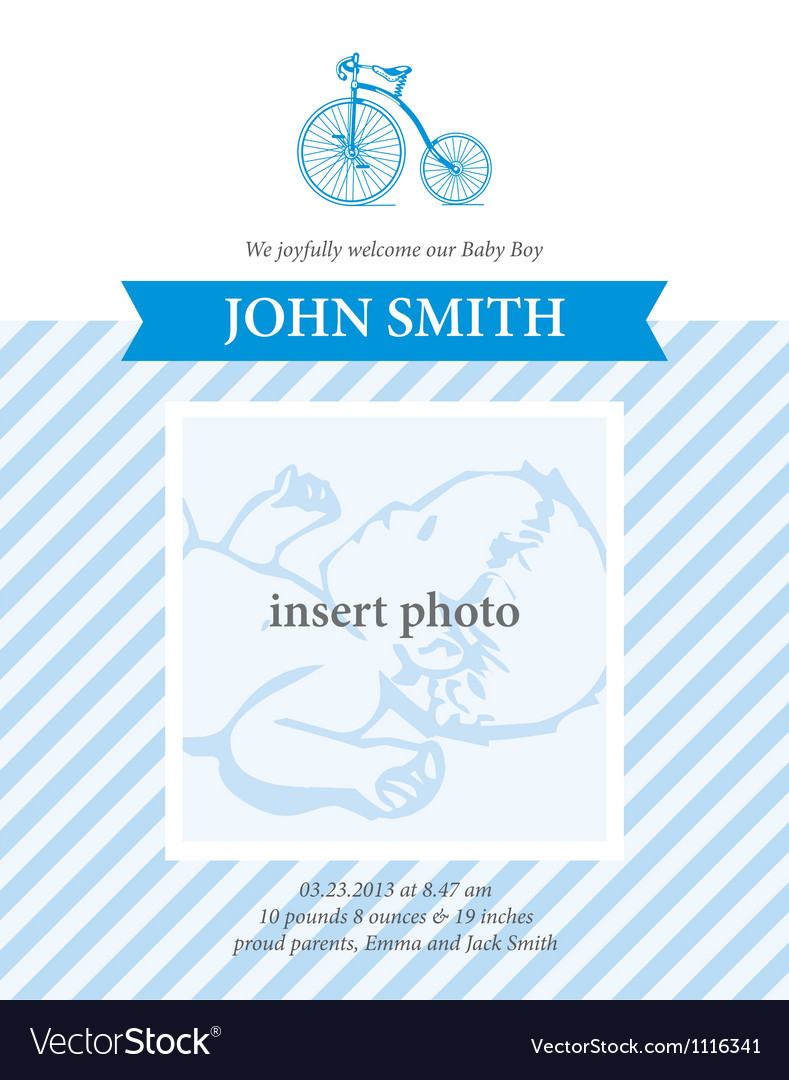 Baby boy announcement card template with bicycle