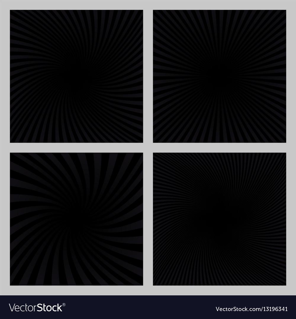 Black spiral ray and starburst background set