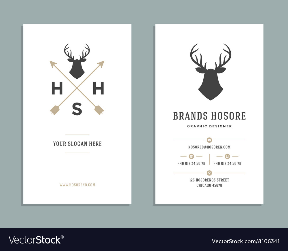 business card design and retro logo template vector image