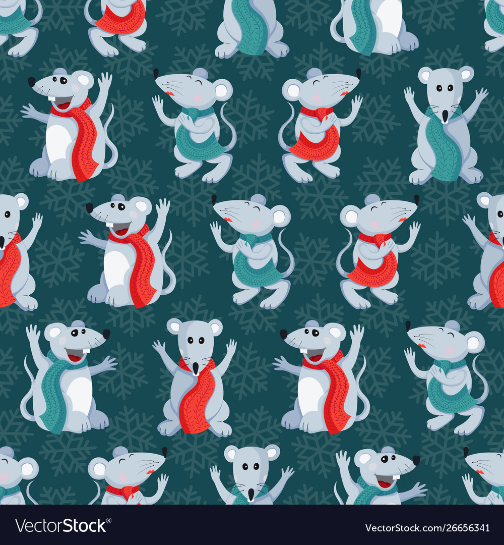 Christmas or new year seamless pattern with cute