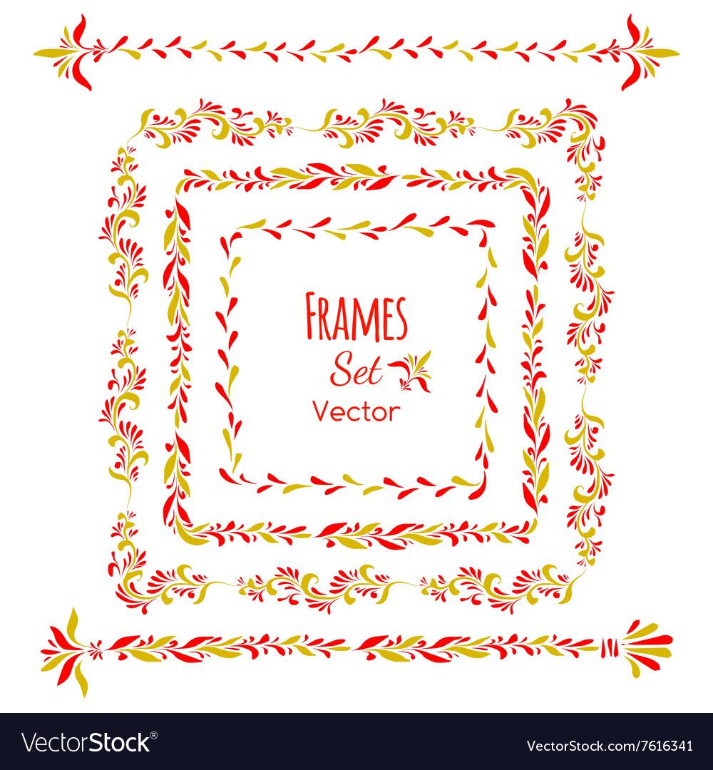 Color floral elements and frames set