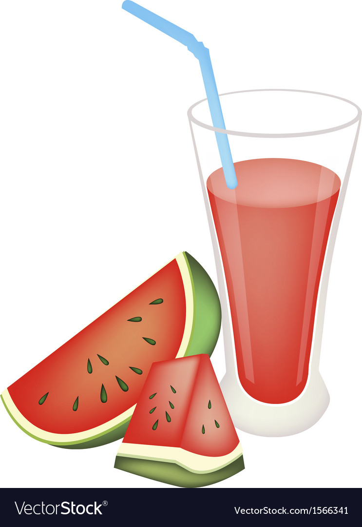 Glass of Red Watermelon Juice and Watermelon Fruit