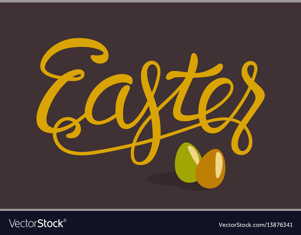 Happy easter lettering with eggs isolated on brown