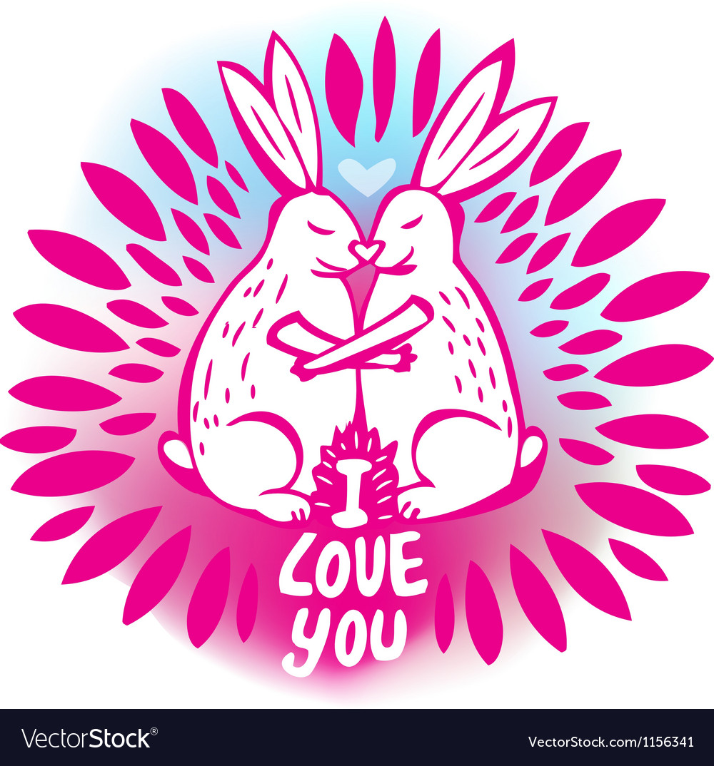Love sketchy with with rabbits vector image