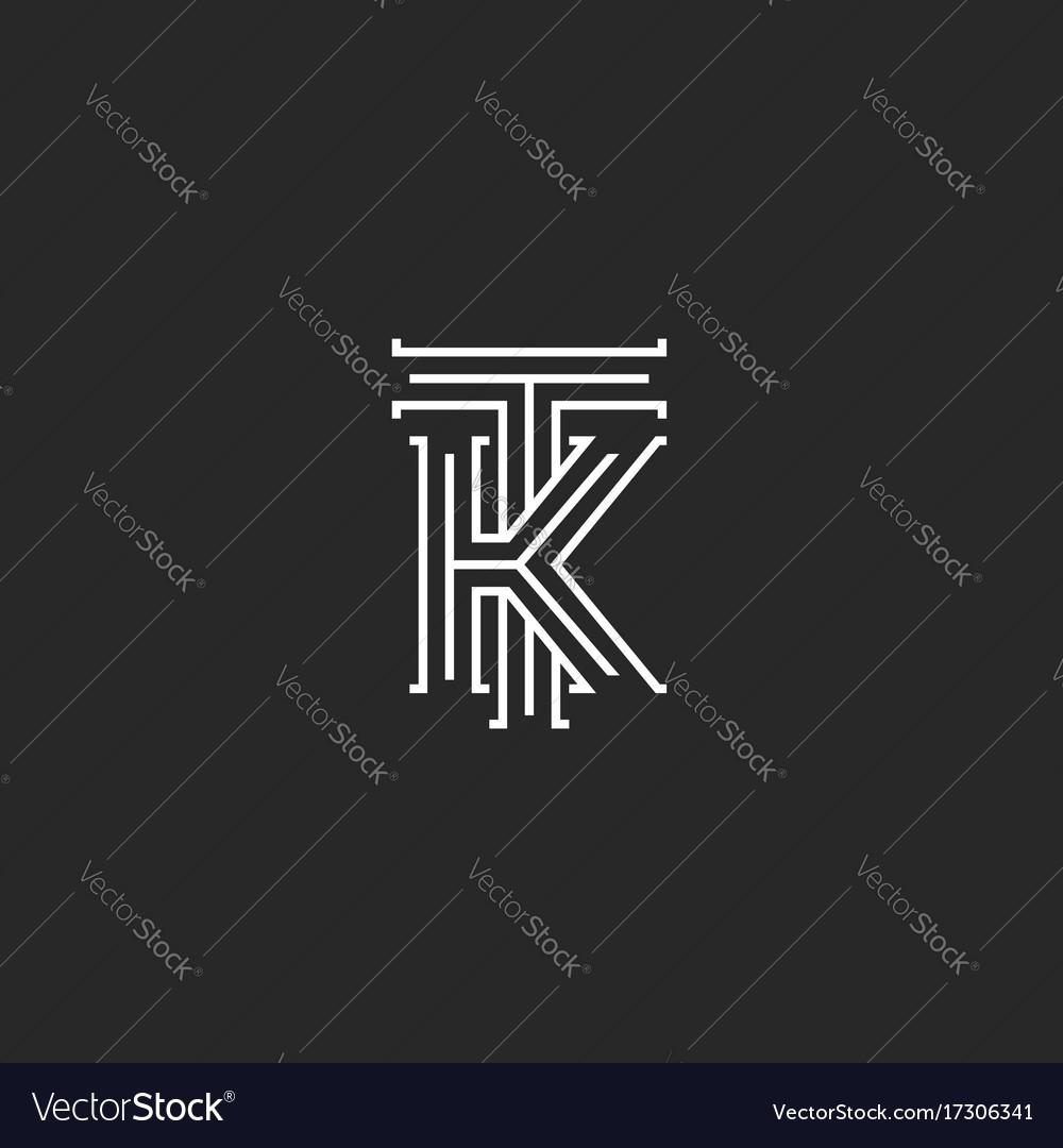 Medieval monogram tk logo combination initials t vector image stopboris Choice Image