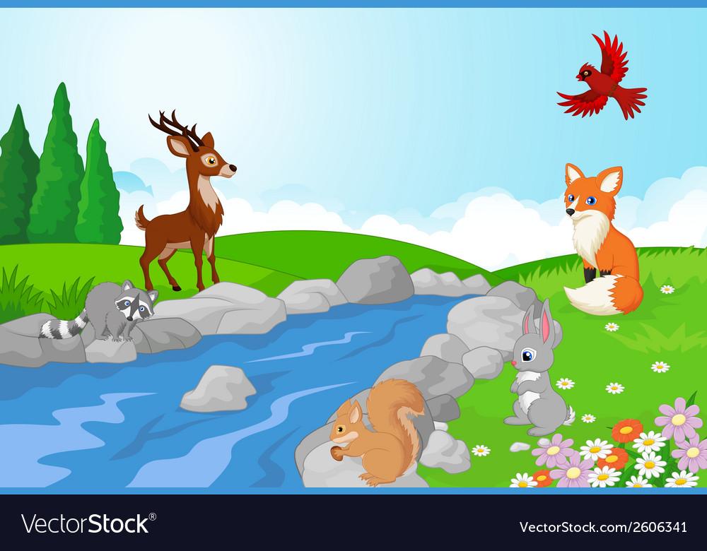 Nature landscape background with wild animals cart