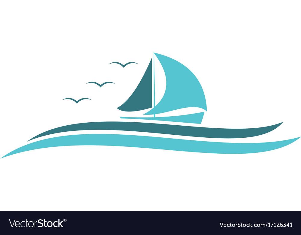 Ocean sailing boat logo