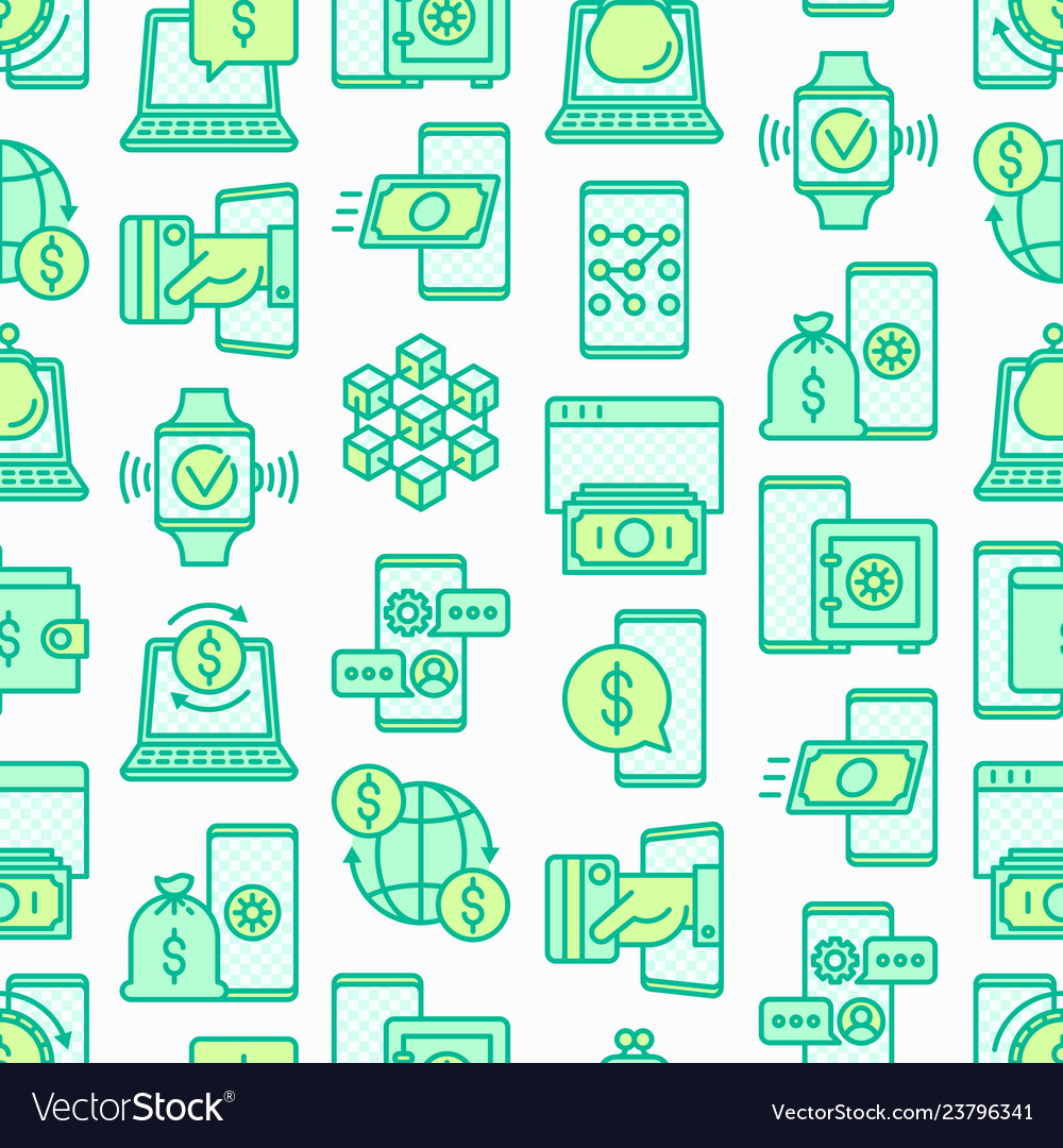 Online banking seamless pattern with line icons