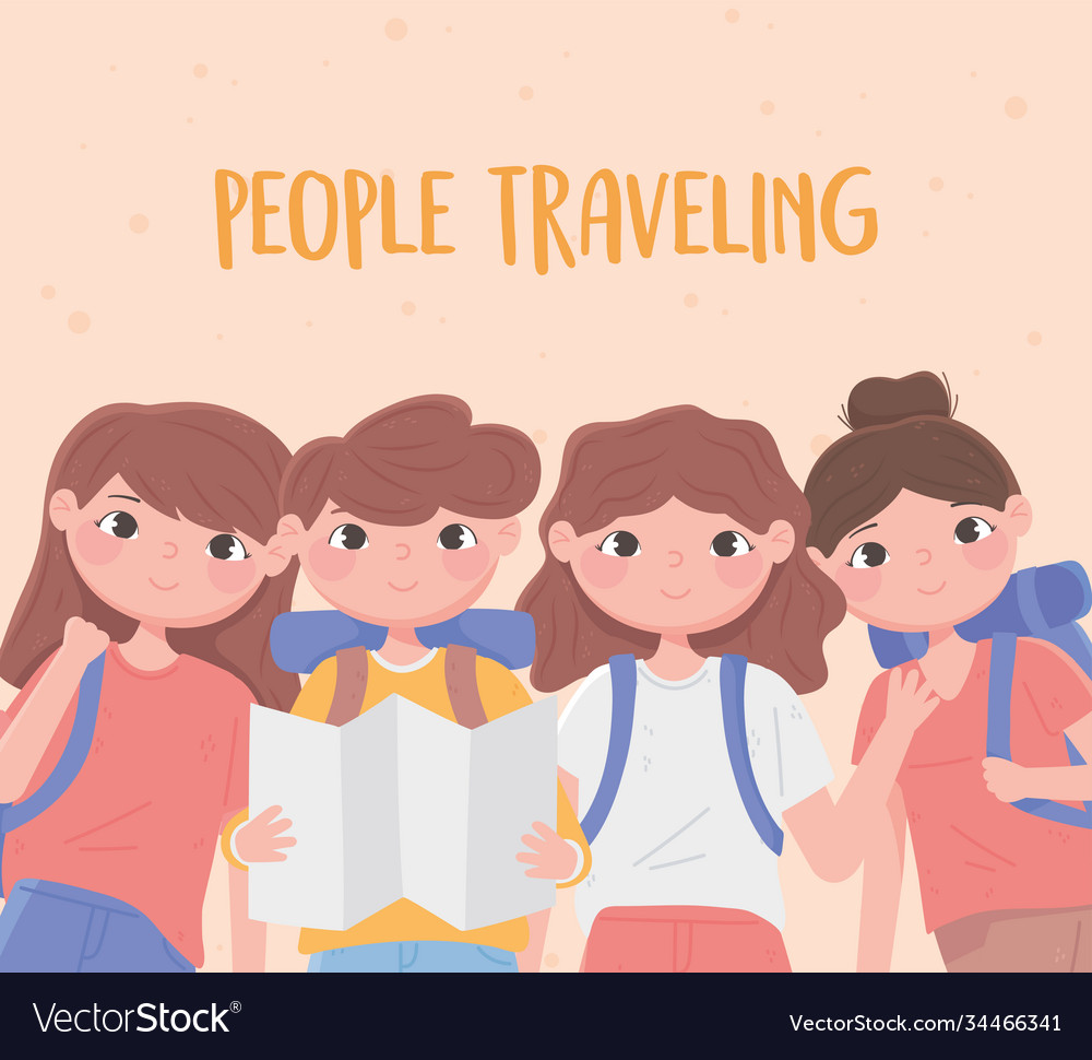 People Traveling Group Young People Tourists With Vector Image
