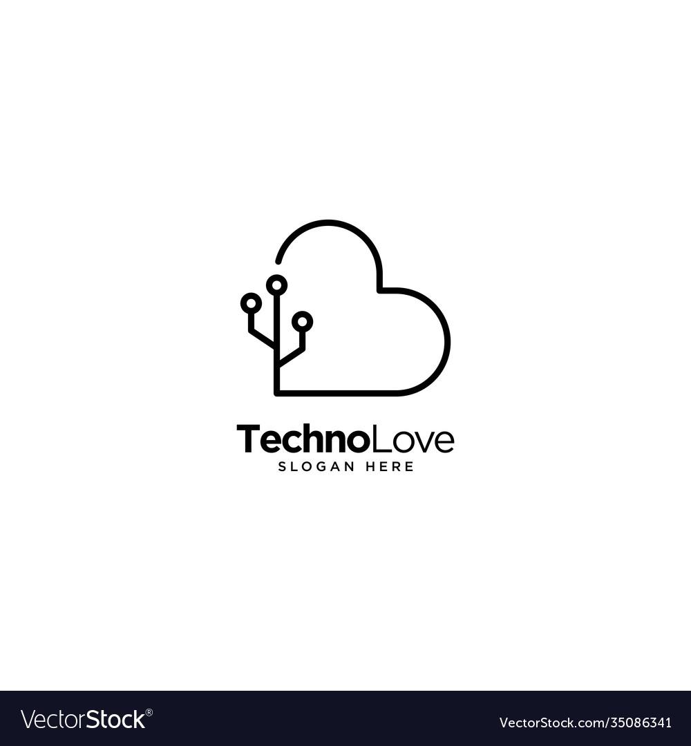 Technology love logo outline monoline