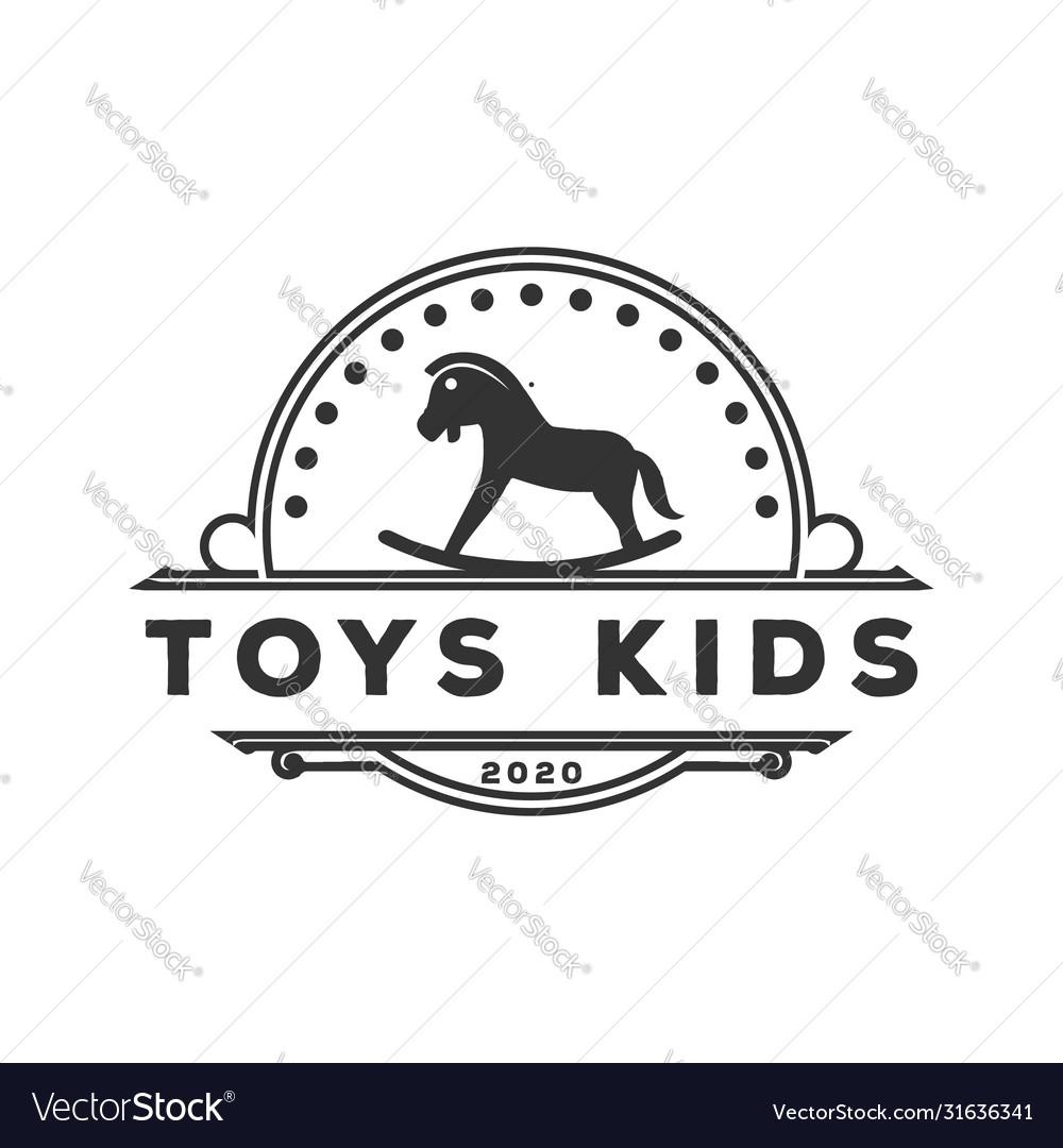 Vintage retro toys kids store logo design