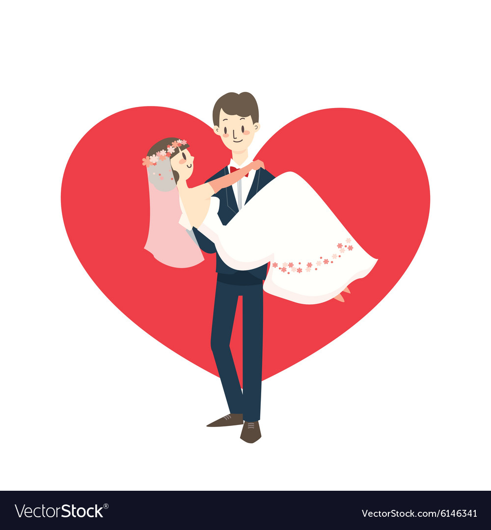 Young wedding couple groom carrying bride cartoon
